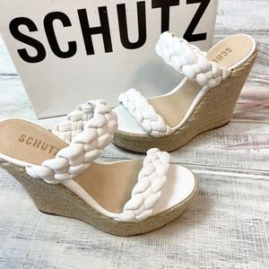 SCHUTZ Leather Dyandre Wedge Sandal In White